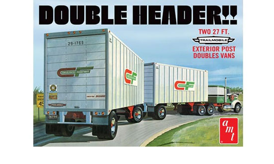Double Header Tandem Van Trailers 1/25